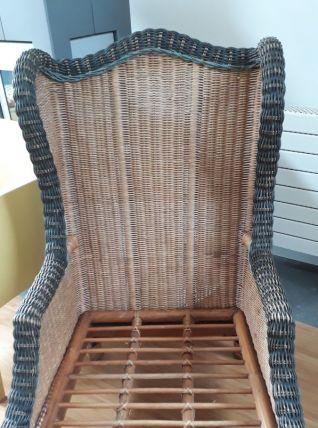 fauteuil, repose pieds  table basse osier marque GRANGE