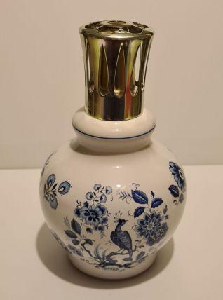 Lampe berger décor fleurs bleues