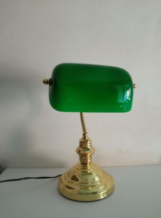 Lampe de banquier en laiton et opaline verte