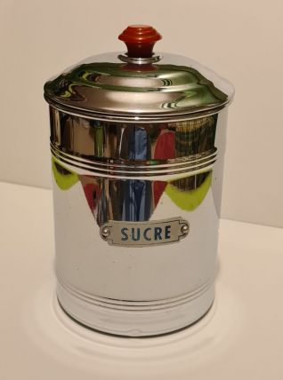 Pot à sucre cuivre chromé Vintage