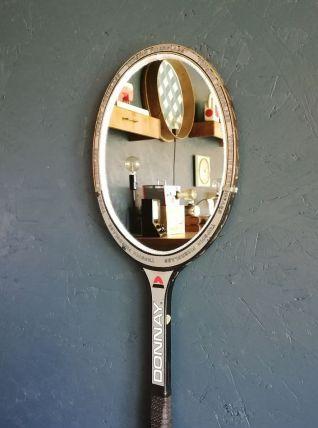 "Miroir mural raquette miroir raquette tennis ""Donnay Grise"""