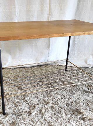 Table basse moderniste métal et chêne – années 50/60