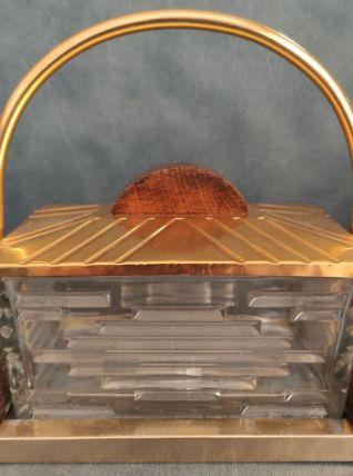 Ancienne Boîte biscuits / beurrier doré Art Déco