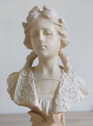 Buste ancien en plâtre début XXe signé