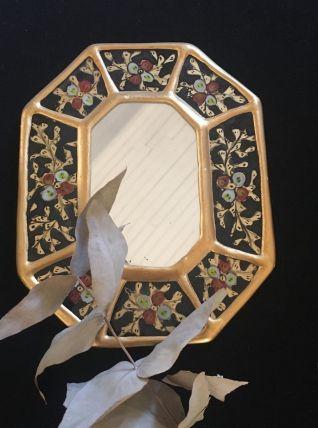 Miroir en bois octogonal en doré et noir