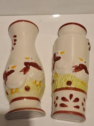 Paire de saturateurs d'air Céramique Movitex décor Canards