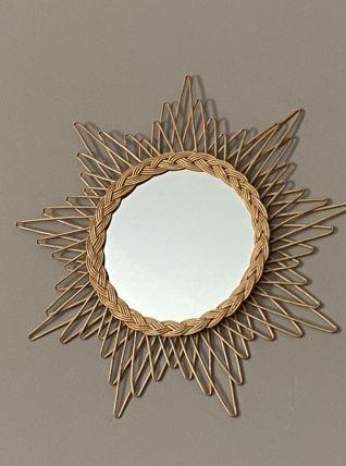 Miroir soleil en rotin tressé. 1960. 58cm.