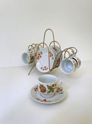Service à café en porcelaine vintage 70 + support en laiton