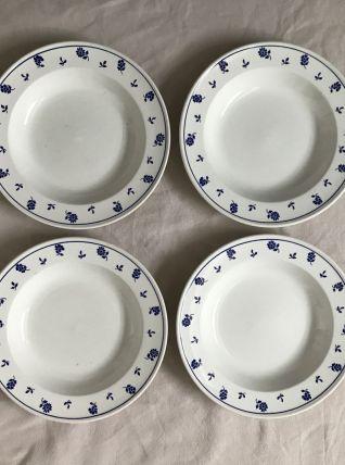 Série de 4 assiettes creuses - en faience