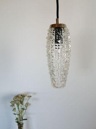 "Lampe Baladeuse vintage suspension en verre ciselé ""Gemma"""