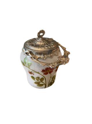 Pot à biscuits vintage en verre émaillé peint