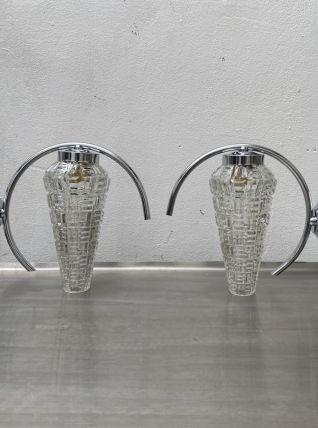 LOT 2 ANCIENNES LAMPES APPLIQUES CHROMÉE 1950