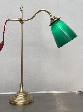 ANCIENNE LAMPE VINTAGE MONTE & BAISSE EN LAITON ET OPALINE