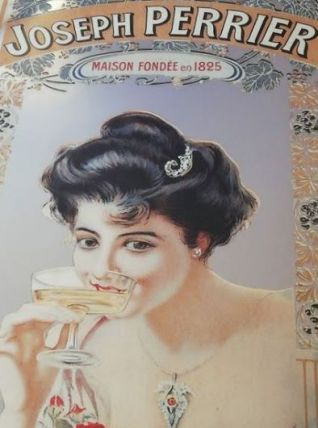 Ancien miroir publicitaire Champagne