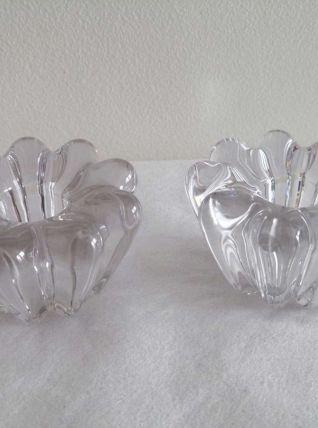 Paire de bougeoirs Art déco en verre moulé années 30-40