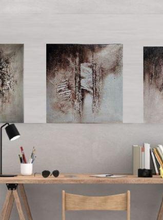 Tableaux peinture mural abstrait lot de 3 pièces