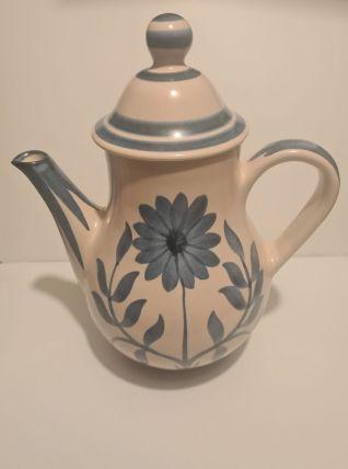 Cafetière en céramique de Longchamp décor floral