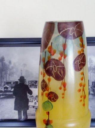 Vase Art nouveau peint à la main, 0,6 cm d'épaisseur