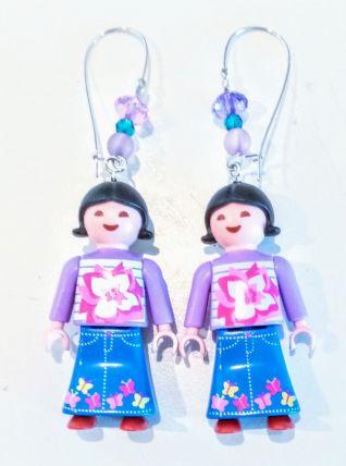 Boucles d'oreilles Playmobil/argenté/violet/rose/bleu