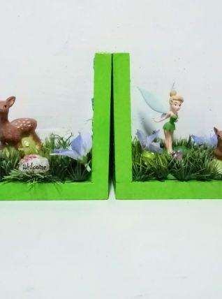 Serre livres fée Clochette en bois, féeriques