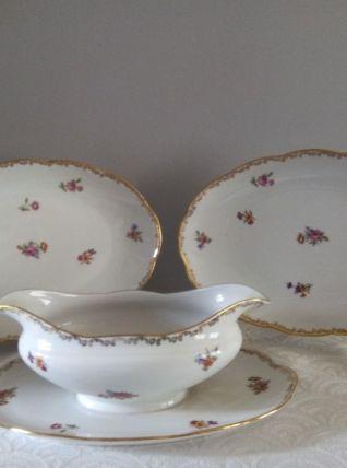 Saucière et 2 raviers Porcelaine Emaux de LIMOGES