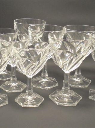 Service de 10 verres à pied en cristal