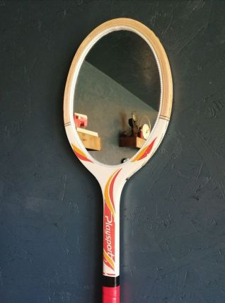 "Miroir mural ovale bois raquette tennis ""Playsport"""