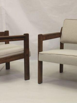 Paire de fauteuils en bois origine Pays de l'Est, années 70.