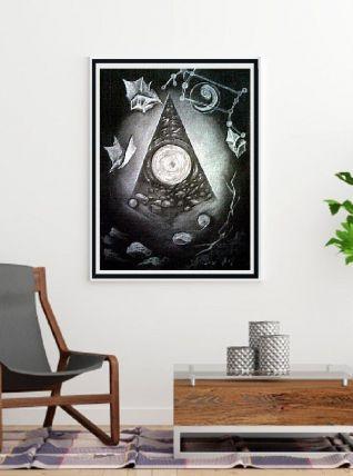 pastel dessin noir et blanc nocturne