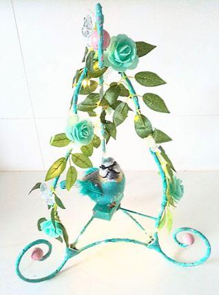 Lampe oiseau bleu, lampe perchoir d'oiseau