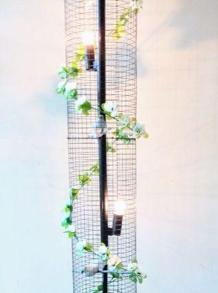 Lampe volière noire, blanche, cage oiseaux, fleurs
