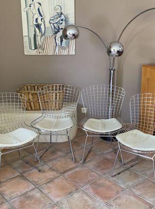 Lot de 4 chaises Harry BERTOIA Chromées. Réédition. 70's.