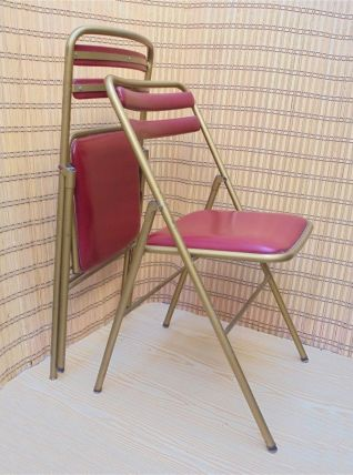 Duo de chaises pliantes vintage