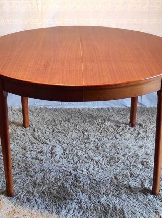 Table à manger ronde en teck – années 60