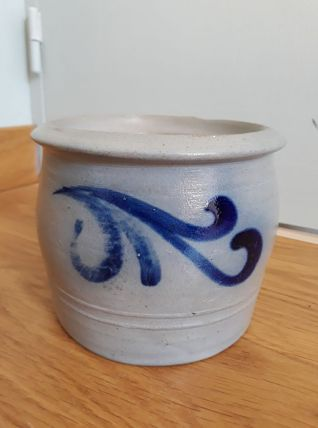 Pot en grès d'Alsace gris et bleu