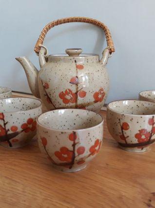 Service à thé en céramique émaillée décor style japonais
