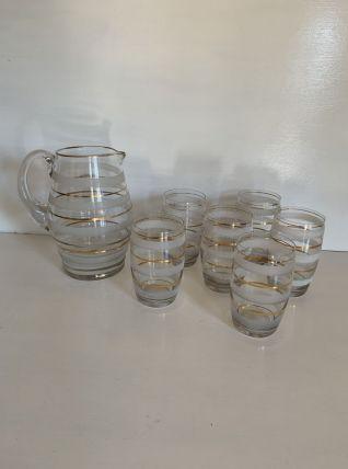 Service à orangeade vintage verre granité