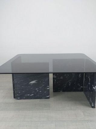 Table basse design années 80 vintage marbre verre