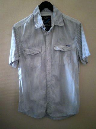 Chemise manche courte gris rayé homme taille M Célio Le Nouv