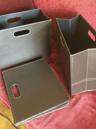 3 porte-revues en simili cuir