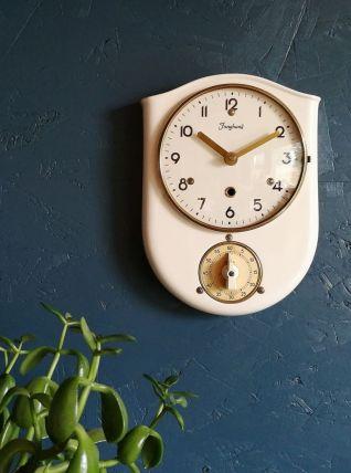 "Horloge vintage pendule  silencieuse céramique ""Junghans"""