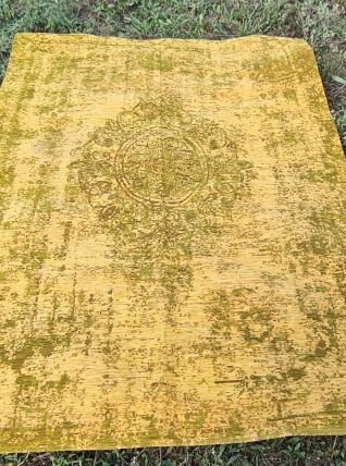 tapis design style délavé  vert et jaune 149x230tres bon eta