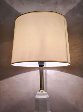 lampe en porcelaine craquelé et pied doré style deluxe 1970