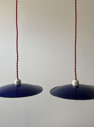 LOT 2 SUSPENSIONS EMAILLEES BLEUES 28 CM