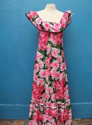 robe longue à volant motif fleur rose année 70-80