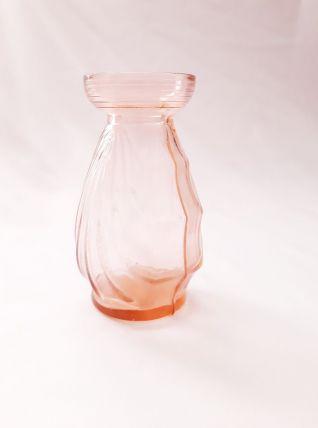 Vase en verre vintage rose