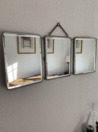 Miroir vintage 1930 triptyque barbier cristal - 28 x 70 cm