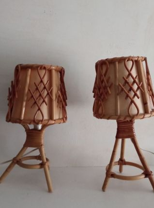 Paire de lampes de chevet en bambou