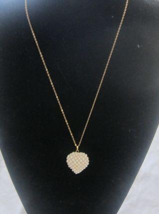 collier en or et son coeur or et perles d'eau douce