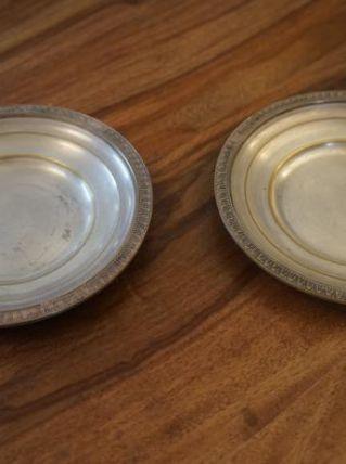 Deux coupelles en métal argenté